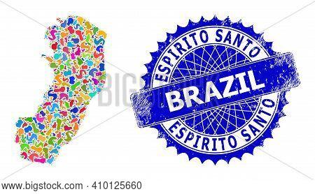 Espirito Santo State Map Vector Image. Blot Collage And Corroded Badge For Espirito Santo State Map.