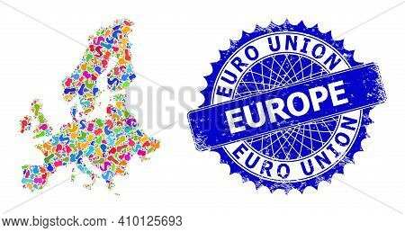 Euro Union Map Vector Image. Splash Collage And Corroded Seal For Euro Union Map. Sharp Rosette Blue