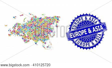Europe And Asia Map Vector Image. Blot Mosaic And Scratched Mark For Europe And Asia Map. Sharp Rose