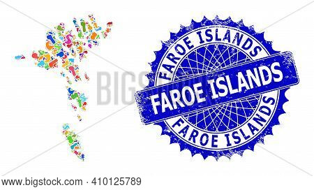 Faroe Islands Map Vector Image. Splash Collage And Distress Seal For Faroe Islands Map. Sharp Rosett