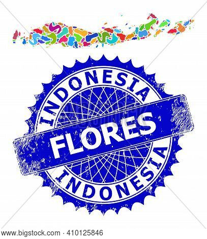 Flores Islands Of Indonesia Map Vector Image. Blot Collage And Grunge Stamp For Flores Islands Of In