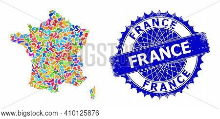 France Map Vector Image. Spot Collage And Distress Stamp For France Map. Sharp Rosette Blue Mark Wit