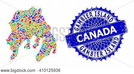 Gambier Island Map Vector Image. Spot Pattern And Scratched Stamp Seal For Gambier Island Map. Sharp