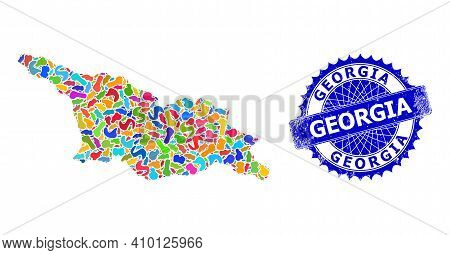 Georgia Map Flat Illustration. Blot Collage And Distress Stamp Seal For Georgia Map. Sharp Rosette B