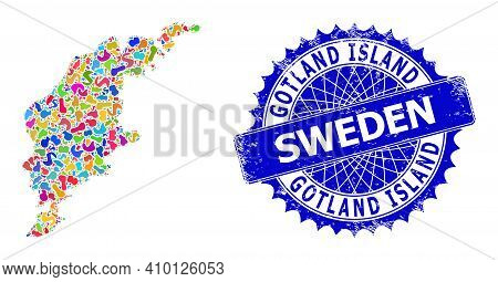 Gotland Island Map Vector Image. Spot Mosaic And Distress Stamp For Gotland Island Map. Sharp Rosett