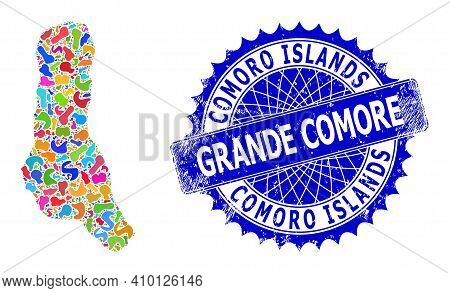 Grande Comore Island Map Vector Image. Splash Mosaic And Distress Mark For Grande Comore Island Map.