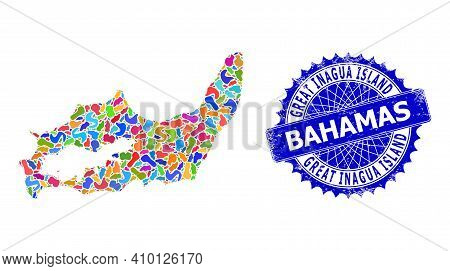 Great Inagua Island Map Vector Image. Blot Mosaic And Rubber Stamp For Great Inagua Island Map. Shar