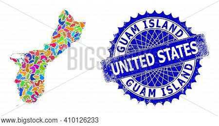 Guam Island Map Abstraction. Blot Mosaic And Rubber Stamp For Guam Island Map. Sharp Rosette Blue St
