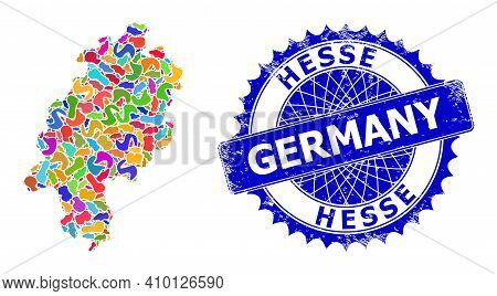 Hesse Land Map Template. Spot Collage And Grunge Mark For Hesse Land Map. Sharp Rosette Blue Badge W
