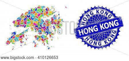 Hong Kong Map Flat Illustration. Blot Collage And Unclean Stamp Seal For Hong Kong Map. Sharp Rosett