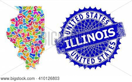 Illinois State Map Abstraction. Splash Pattern And Corroded Stamp For Illinois State Map. Sharp Rose