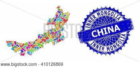 Inner Mongolia Map Vector Image. Spot Mosaic And Grunge Stamp For Inner Mongolia Map. Sharp Rosette