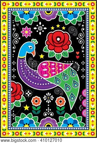 Pakistani And Indian Truck Art Vector Design With Peacoks Roses, Decorative Floral Vibrant Poster Pa