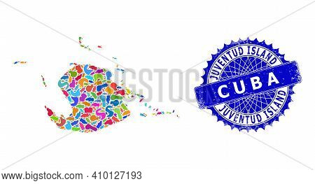 Juventud Island Map Vector Image. Blot Collage And Corroded Stamp Seal For Juventud Island Map. Shar
