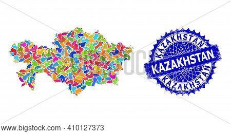 Kazakhstan Map Template. Spot Mosaic And Distress Stamp Seal For Kazakhstan Map. Sharp Rosette Blue