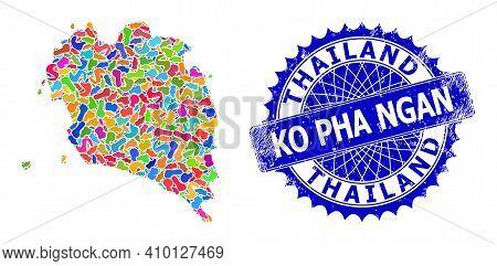 Ko Pha Ngan Map Vector Image. Blot Mosaic And Rubber Seal For Ko Pha Ngan Map. Sharp Rosette Blue St
