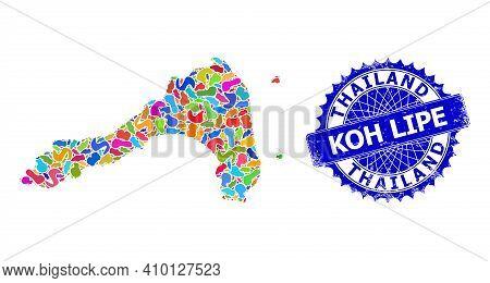 Koh Lipe Map Vector Image. Spot Pattern And Grunge Stamp Seal For Koh Lipe Map. Sharp Rosette Blue S
