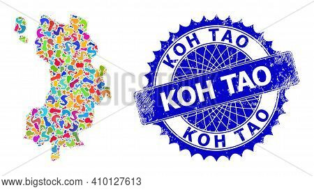 Koh Tao Map Abstraction. Blot Mosaic And Unclean Seal For Koh Tao Map. Sharp Rosette Blue Stamp Seal