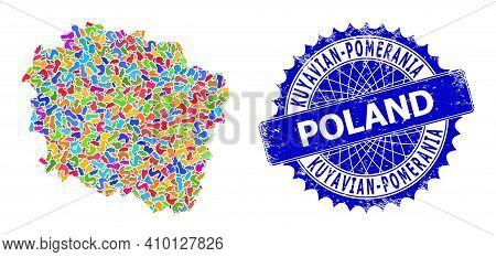 Kuyavian-pomeranian Voivodeship Map Vector Image. Spot Collage And Distress Stamp Seal For Kuyavian-
