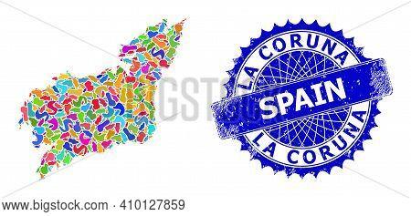 La Coruna Province Map Vector Image. Splash Collage And Grunge Seal For La Coruna Province Map. Shar