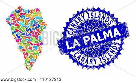La Palma Island Map Flat Illustration. Blot Mosaic And Distress Stamp Seal For La Palma Island Map.