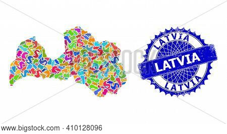 Latvia Map Template. Blot Collage And Grunge Stamp Seal For Latvia Map. Sharp Rosette Blue Stamp Sea