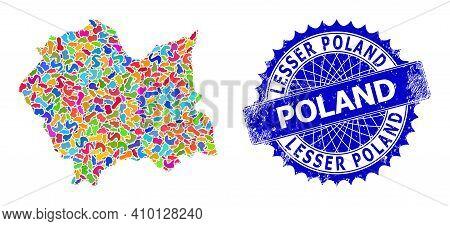 Lesser Poland Voivodeship Map Flat Illustration. Spot Collage And Rubber Stamp Seal For Lesser Polan