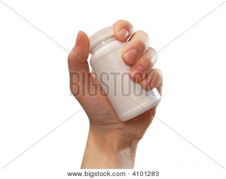 Hand Holding Pill Bottle