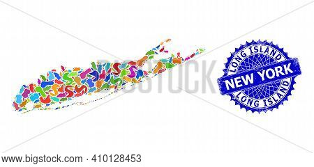 Long Island Map Vector Image. Splash Collage And Unclean Stamp For Long Island Map. Sharp Rosette Bl