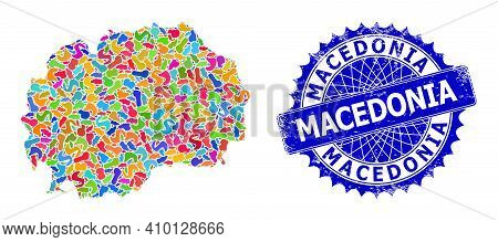 Macedonia Map Vector Image. Blot Pattern And Unclean Stamp Seal For Macedonia Map. Sharp Rosette Blu