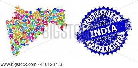 Maharashtra State Map Vector Image. Blot Mosaic And Distress Stamp For Maharashtra State Map. Sharp