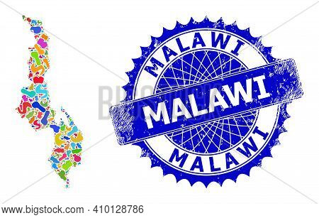 Malawi Map Vector Image. Splash Pattern And Distress Stamp Seal For Malawi Map. Sharp Rosette Blue S