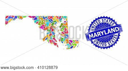 Maryland State Map Template. Spot Collage And Unclean Stamp Seal For Maryland State Map. Sharp Roset
