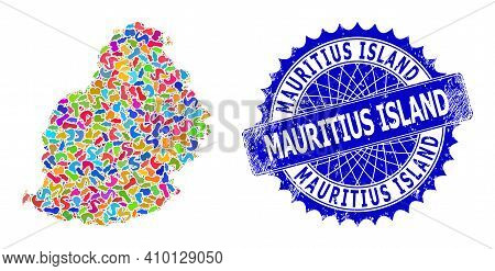 Mauritius Island Map Vector Image. Blot Mosaic And Rubber Badge For Mauritius Island Map. Sharp Rose