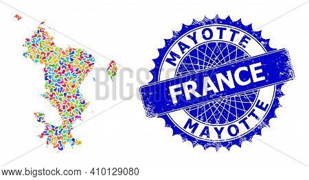 Mayotte Islands Map Vector Image. Splash Mosaic And Corroded Stamp For Mayotte Islands Map. Sharp Ro