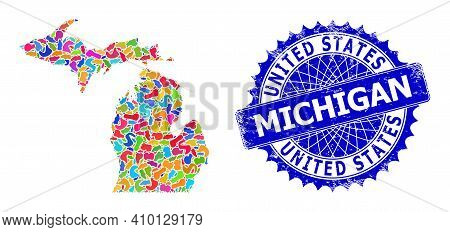 Michigan State Map Template. Spot Collage And Rubber Stamp Seal For Michigan State Map. Sharp Rosett