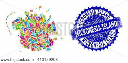 Micronesia Island Map Vector Image. Blot Collage And Distress Stamp Seal For Micronesia Island Map.