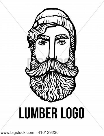 Lumber Hipster Head With Beard. Hand-drawn Doodle. Vector Illustration - Stock Vector. Hand Drawn Ca