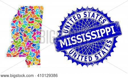 Mississippi State Map Vector Image. Spot Mosaic And Unclean Stamp For Mississippi State Map. Sharp R