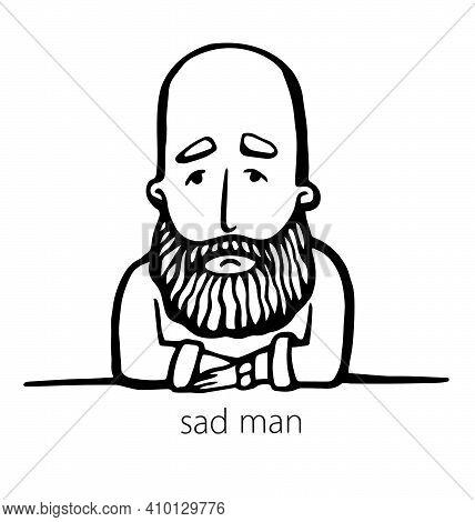 Sad Hipster With Beard. Hand-drawn Doodle. Vector Illustration - Stock Vector. Hand Drawn Cartoon Ch