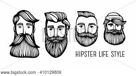 Set Hipster Heads With Beards. Hand-drawn Doodle. Vector Illustration - Stock Vector. Hand Drawn Car