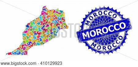 Morocco Map Vector Image. Spot Mosaic And Corroded Badge For Morocco Map. Sharp Rosette Blue Seal Wi