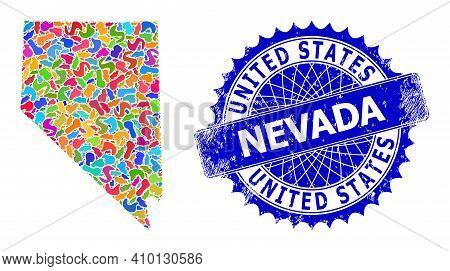 Nevada State Map Flat Illustration. Blot Collage And Distress Stamp Seal For Nevada State Map. Sharp