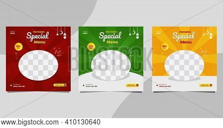 Set Of Ramadan Social Media Post Templates With Red, Green And Yellow Background, Suitable For Food