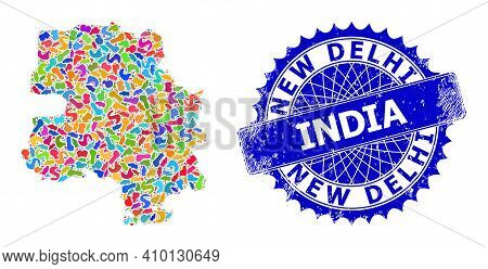 New Delhi City Map Vector Image. Spot Mosaic And Corroded Stamp Seal For New Delhi City Map. Sharp R