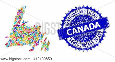 Newfoundland Island Map Vector Image. Blot Collage And Unclean Stamp Seal For Newfoundland Island Ma