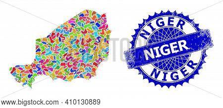 Niger Map Vector Image. Splash Collage And Scratched Seal For Niger Map. Sharp Rosette Blue Mark Wit