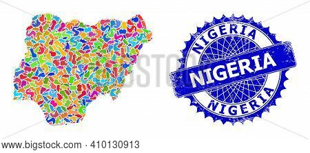Nigeria Map Vector Image. Blot Mosaic And Grunge Badge For Nigeria Map. Sharp Rosette Blue Stamp Sea