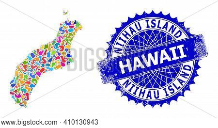 Niihau Island Map Vector Image. Blot Collage And Corroded Seal For Niihau Island Map. Sharp Rosette
