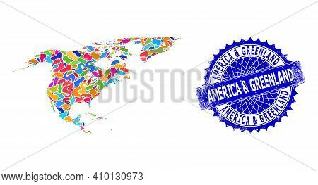 North America And Greenland Map Vector Image. Spot Pattern And Scratched Stamp Seal For North Americ